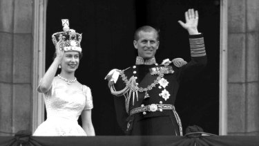 The Queen and Prince Philip on the balcony of Buckingham Palace following the 1953 coronation.