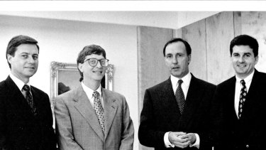 Bill Gates with then Prime Minister Paul Keating and  Daniel Petre (far right)