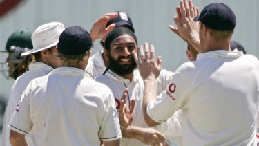 Spin doctor: Monty Panesar takes the wicket of Andrew Symonds during the fifth Ashes Test match at the SCG in 2007. The spinner has admitted to changing the condition of the ball during his England career.