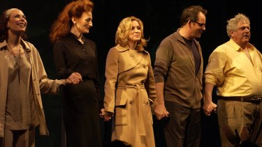Madonna (centre) and the cast of Up For Grabs take their bow at Wyndham's Theatre, London, in 2002. The role of a manipulative art dealer trying to sell a Jackson Pollock painting was Madonna's stage debut.