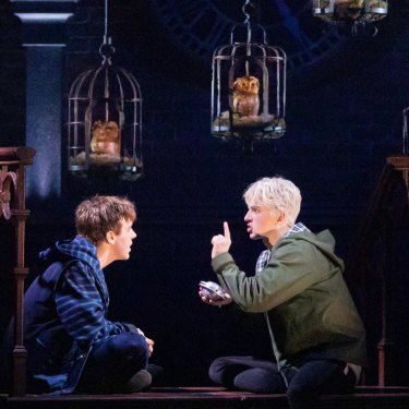 Sean Rees-Wemyss as Albus Potter and William McKenna as Scorpius Malfoy in Harry Potter and the Cursed Child.