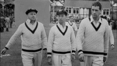 Don Bradman, left, leads Australia on to the field for their tour match with Worcestershire during The Invincibles tour in 1948.