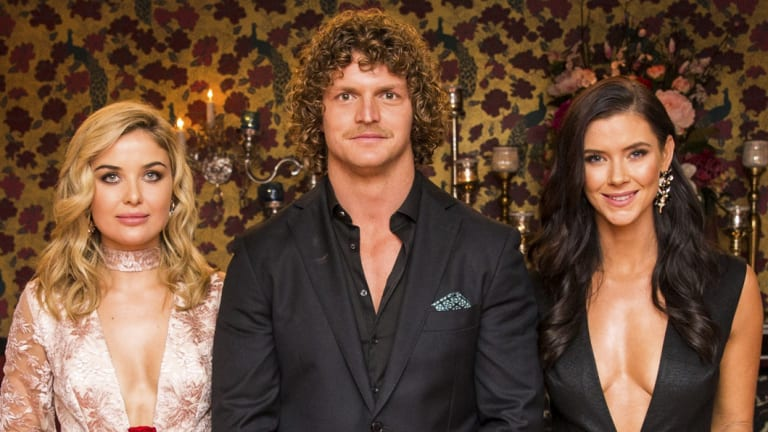Nick Cummins with Sophie Tieman, left, and Brittany Hockley on The Bachelor.