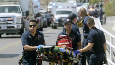 El Paso emergency personnel arrive at the scene of the Walmart shooting.