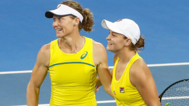 After being forced into a doubles decider, Ash Barty and Sam Stosur pulled off a semi final win over Belarus to seal a spot in the final.