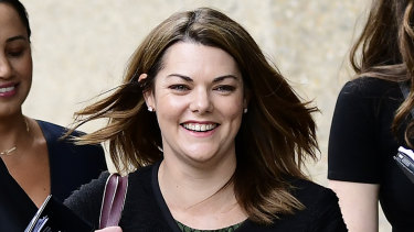 Greens Senator Sarah Hanson-Young outside court on Wednesday.
