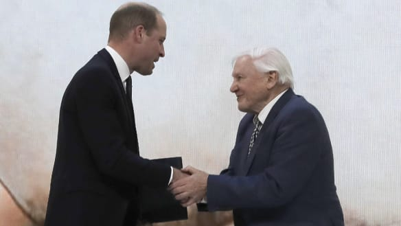 Britain's Prince William, left, and Sir David Attenborough, broadcaster and natural historian, shake hands after participating in a session at the annual meeting of the World Economic Forum in Davos, Switzerland,