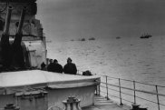 A convoy reaches harbour in 1942.