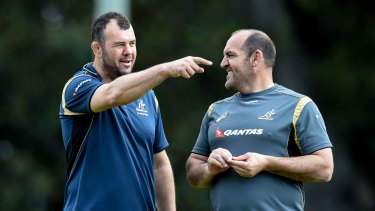 Michael Cheika and Mario Ledesma during their Wallabies days in 2015.