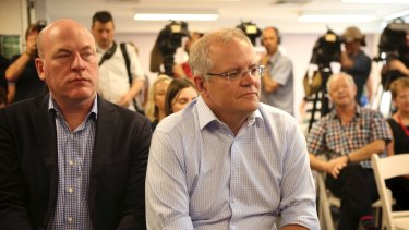 "Liberal MP Trent Zimmerman, pictured with  Scott Morrison, said Senator Molan's campaign was ""dishonourable""."