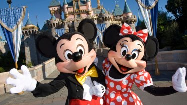 Disney characters, Mickey and Minnie Mouse.