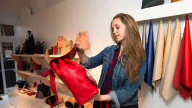 A customer in Mon Purse Boutique in Paddington. The company entered administration in December.