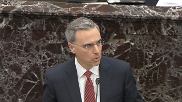 White House counsel Pat Cipollone speaks in favour of of Senate Resolution 483, the organising resolution for the impeachment trial against President Donald Trump in the Senate.