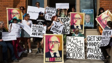 Artists protest cuts to the Australia Council in 2015.