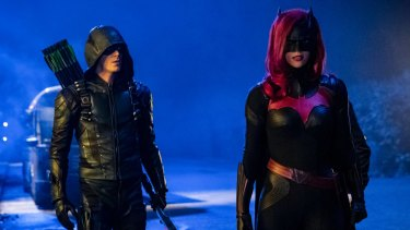 Batwoman (Ruby Rose, right) with Green Arrow (Grant Gustin) in the DC Comics Elseworlds crossover TV event.