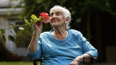 Dame Elisabeth Murdoch in her garden at Cruden Farm  at Langwarrin.
