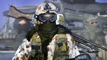 Australian SAS Soldiers on patrol near Bagram air base, Afghanistan.