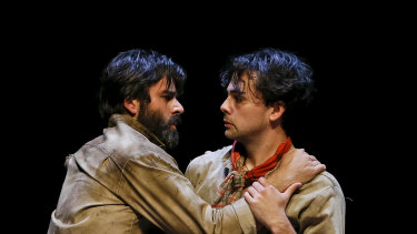 Valentin (Adam-Jon Fiorentino) and Molina (Ainsley Melham) lean on one another to endure horrific suffering.