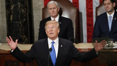 President Trump delivers his State of the Union address in January 2018.