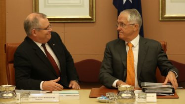 Then treasurer Scott Morrison and then prime minister Malcolm Turnbull at a COAG meeting in 2016.