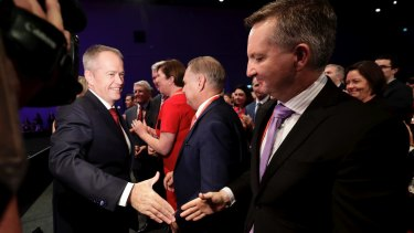 Opposition Leader Bill Shorten and shadow treasurer Chris Bowen at Labor's national conference on Sunday.