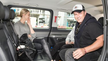 Karl Stefanovic and Jasmine Yarbrough at Sydney Airport after their lavish wedding in Mexico in December.