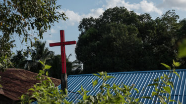 A cross on a rooftop in Port Blair, on South Andaman Island in India.