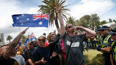 Far-right activists in St Kilda on Saturday.