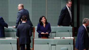 Julia Banks in Parliament: too often when powerful men are challenged by women they will either walk away or overtly show they're not listening.