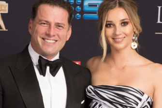 All smiles: Karl and Jasmine Stefanovic  posing before the Logies.