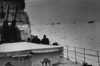 A convoy reaches harbour in 1942 after a nerve-racking Atlantic crossing.