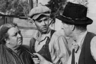 In the John Ford film of John Steinbeck's <i>The Grapes of Wrath</I>, Henry Fonda (centre) played Tom Joad, Jane Darwell his mother, and Charley Grapewin as 'Grandpa' Joad.