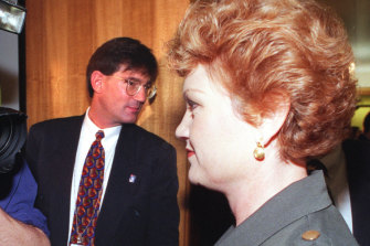 David Oldfield and Pauline Hanson in 1998.