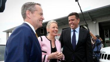 Opposition Leader Bill Shorten, Chloe Shorten and ALP member for Oxley, Milton Dick.