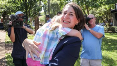 Time to celebrate: Premier Gladys Berejiklian on Sunday.