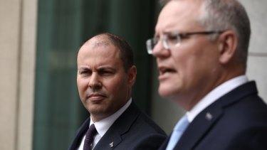 Treasurer Josh Frydenberg and Prime Minister Scott Morrison in Canberra on Tuesday.