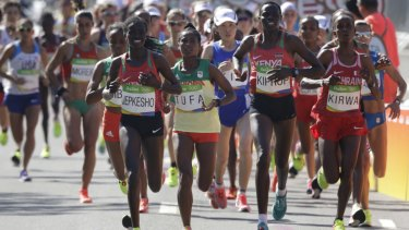 Athletes compete in the women's marathon during Rio Olympics in 2016.
