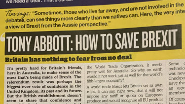 Former PM Tony Abbott's writing in UK pub magazine Wetherspoon.