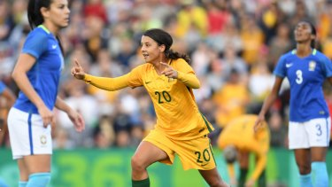 Rivals: Sam Kerr scoring against Brazil back in 2017.