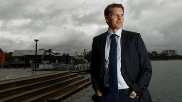 Canning MP Andrew Hastie in his hometown of Mandurah, the biggest population centre in his outer-metro seat south of Perth.