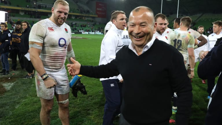 "Fitting tribute: Eddie Jones, pictured here after England's victory in the second Test against Australia in 2016, thinks the Indigenous jersey's Twickenham debut is a ""great idea""."