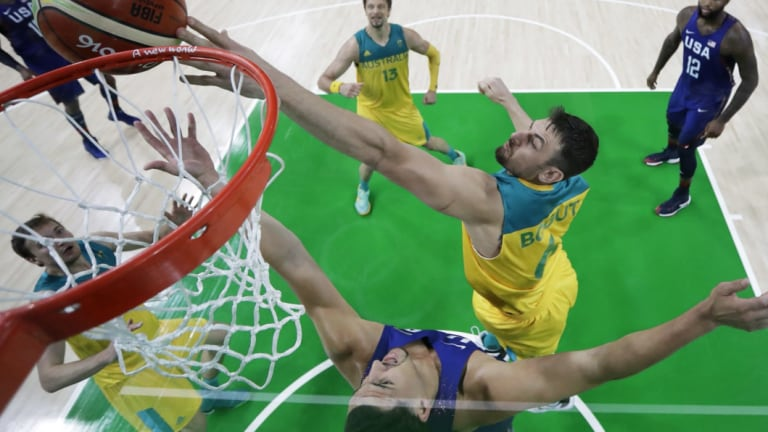 Andrew Bogut, right, tries to block a shot by Klay Thompson of the US during a game at the 2016 Olympics in Rio de Janeiro.
