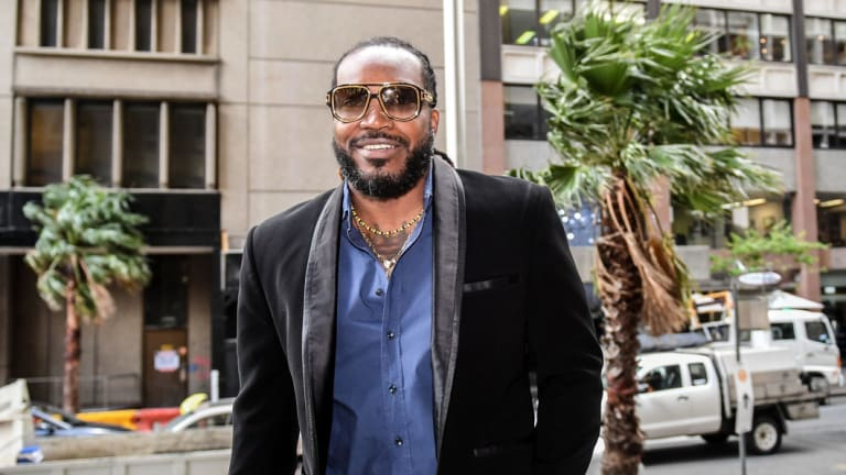 Chris Gayle arrives at the NSW Supreme Court in Sydney on Monday, October 23, 2017.