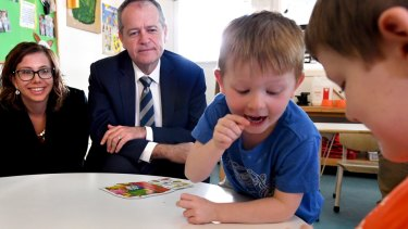 Labor leader Bill Shorten, with his early childhood education spokeswoman Amanda Rishworth, has pledged to lift funding for preschool education.