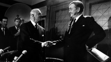 In 1971, a party room confidence vote in John Gorton, right, was tied. He stepped aside to be replaced by William McMahon, left.
