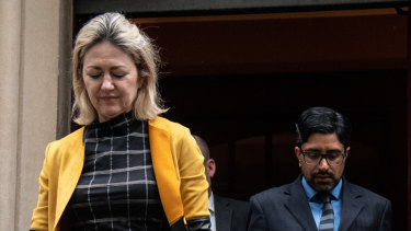 Margaret Cunneen SC (left) leaves court with her client this week.