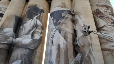 A giant mural on silos in Brim, north-western Victoria.