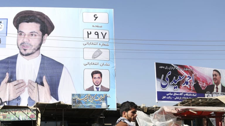 An election poster by parliamentary candidate Fida Mohammad Olfat Saleh for the upcoming elections in Kabul, Afghanistan.