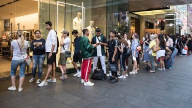 Ready to go: Shoppers line up at Pitt Street Mall waiting for Zara to open.
