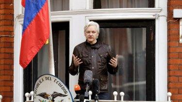 WikiLeaks founder Julian Assange on the balcony of the Ecuadorian embassy, May 2017.